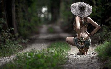 дорога, девушка, платье, спина, шляпка
