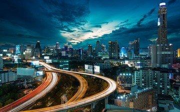 дорога, ночь, огни, здания, таиланд, высотки, бангкок