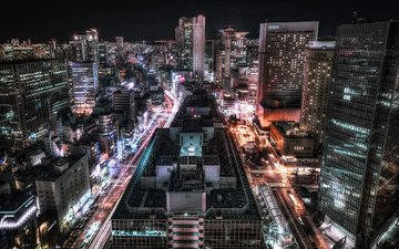 road, lights, neon, japan, skyscrapers, architecture, osaka