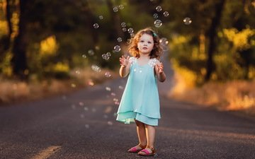 road, dress, bubbles, children, girl, hair, face