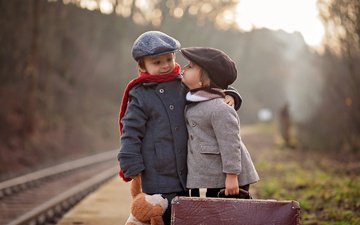 road, rails, children, girl, boy, cap, suitcase, coat