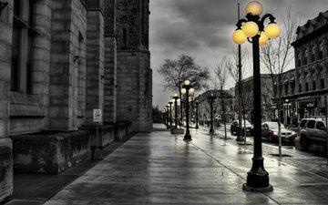 road, street, lantern, overcast, after the rain