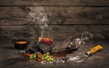 зелень, еда, бокал, вино, мясо, нож, помидоры