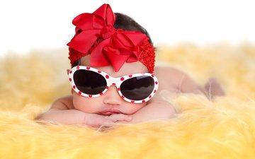 фото, очки, дети, девочка, ребенок, бантик