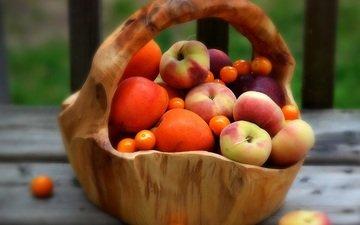 фрукты, персики, корзинка, абрикосы