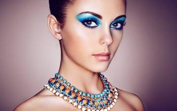 глаза, украшения, девушка, портрет, взгляд, модель, лицо, макияж, тени