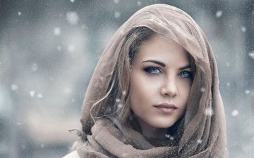 глаза, девушка, портрет, взгляд, волосы, лицо, платок