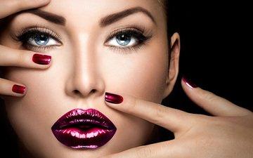 глаза, девушка, взгляд, модель, губы, лицо, пальцы, макияж, ресницы, маникюр