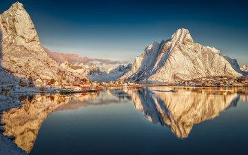 горы, отражение, деревня, норвегия, рейне, reine