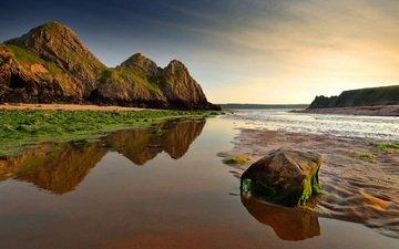 небо, горы, скалы, берег, море, песок, камень