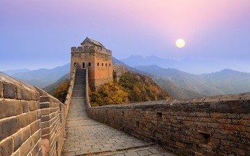 горы, восход, солнце, стена, китай, jinshanling great wall