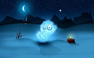 art, mountains, winter, stars, the moon, house, candle, animal, needles