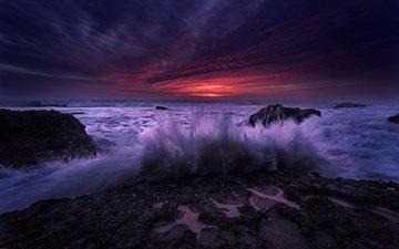 камни, берег, волны, закат, брызги, прибой