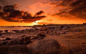 небо, облака, камни, берег, закат, пейзаж, море