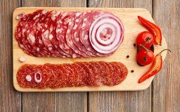 колбаса, помидор, перец, салями, нарезка