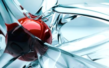 red, graphics, ball, glass, figure, 3d