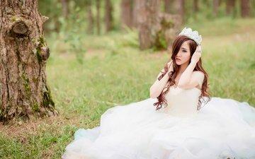 лес, девушка, настроение, взгляд, азиатка, белое платье, невеста