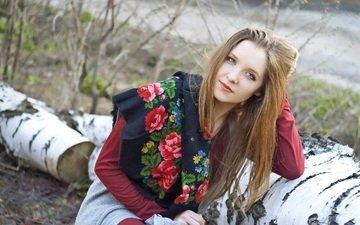 лес, девушка, взгляд, волосы, позирует, береза, платок