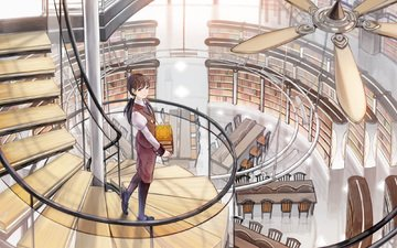 ladder, girl, books, library, fan, oshime shimetta, to b