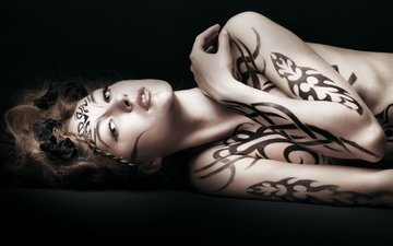 line, girl, pattern, look, tattoo, hair, body, body art