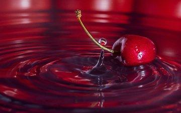 вода, макро, капля, черешня, вишня, всплеск, яг