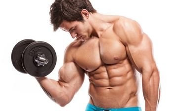 male, press, muscle, bodybuilder, dumbbells