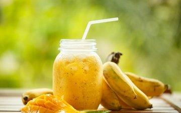 напиток, фрукты, трубочка, банка, бананы, манго, смузи