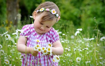 flowers, mood, children, girl, chamomile, hair, face