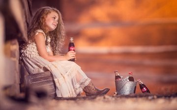 mood, dress, children, red, girl, curls, hair, face, child, bottle, coca-cola, redhead, bucket
