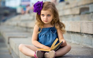 mood, dress, look, children, girl, hair, face, book, bow