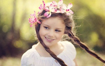 mood, smile, look, children, girl, hair, wreath, braids