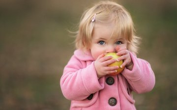 mood, look, children, girl, hair, face, child, apple