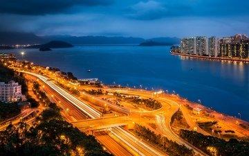 небо, деревья, огни, вечер, море, небоскребы, дороги, гавань, гонконг, сатхинь