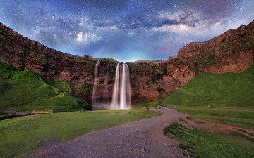 небо, дорога, горы, скалы, земля, природа, космос, мостик, пейзаж, звезды, водопад, млечный путь, исландия
