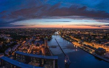 небо, дорога, ночь, огни, река, панорама, город, дома, архитектура, здания, сумерки, германия, мосты, телебашня, берлин