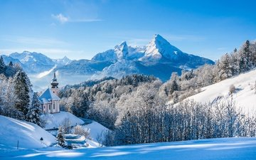 небо, деревья, горы, снег, лес, зима, вершины, церковь, германия, альпы, бавария