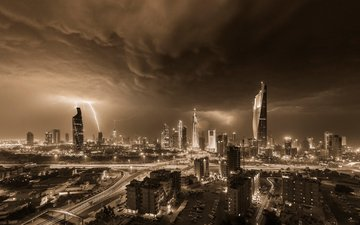 the sky, night, lights, the evening, storm, skyscrapers, home, zipper, the storm, kuwait
