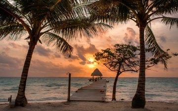 небо, облака, солнце, песок, пляж, пирс, пальмы