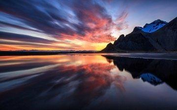 небо, облака, вода, горы, отражение