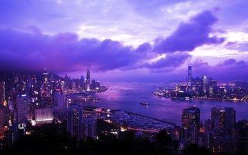 небо, огни, вечер, города, рассвет, город, небоскребы, китай, гон-конг, гонконг, бремар-хилл, виктория-харбор