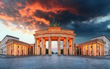 небо, огни, вечер, тучи, архитектура, памятник, площадь, германия, берлин, бранденбургские ворота