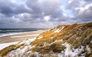 небо, трава, зима, море, пляж, дюны