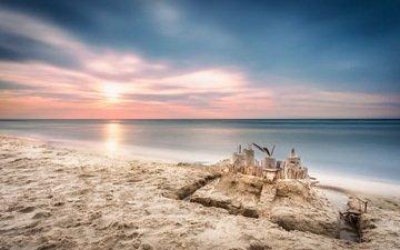 небо, тучи, море, песок, пляж, замок