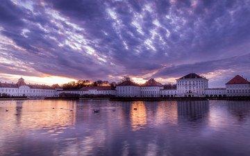 небо, вечер, река, закат, замок, дворец, германия, бавария, мюнхен, нимфенбург