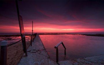 небо, вечер, закат, тучи, пляж, сумерки, австралия