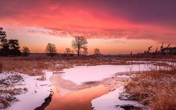 небо, вода, вечер, река, снег, зима, лёд