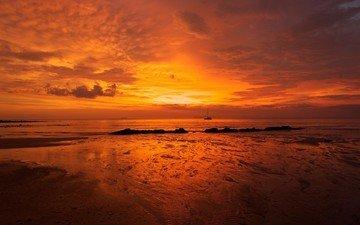 небо, вода, закат, море, песок, пляж