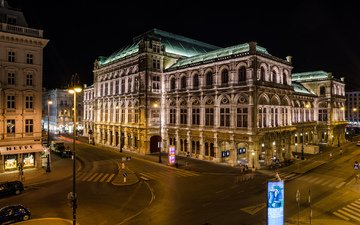 ночь, австрия, машины, дороги, здания, освещение, театр, вена, оперный