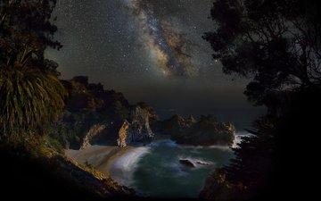ночь, скалы, море, звезды, пляж, побережье, калифорния