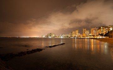 ночь, набережная, здания, гавайи, гонолулу